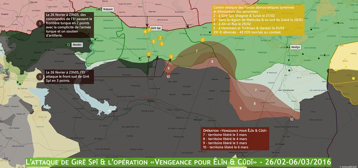 L'attaque de l'EI à GireSpi repoussée par les YPG/J & l'opération